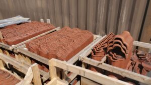 Reclaimed tile roofing panels packed in shipping crate