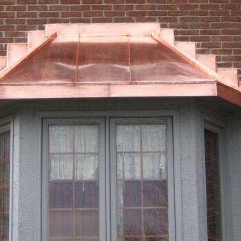 Copper bay window cover installation