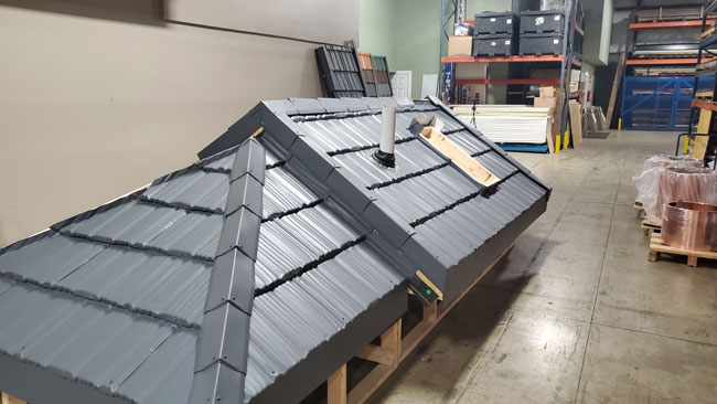 Mock roof used for training in our corporate headquarters