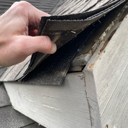 Close up of loose shingles being held up by a hand