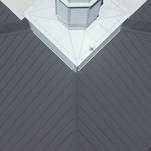 Aerial view of Standing Seam roof in colonial slate color