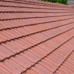 Close up of French clay tile roof
