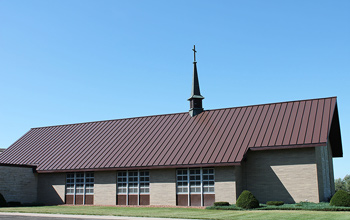 Church with Standing Seam roof installed in Hickory color