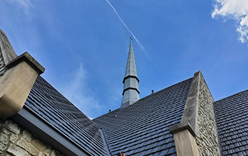 Church with Metal Shake Series installed with blue sky