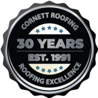30th Anniversary badge for Cornett Roofing Systems