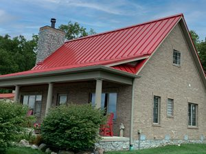 red standing seam roof in anderson in
