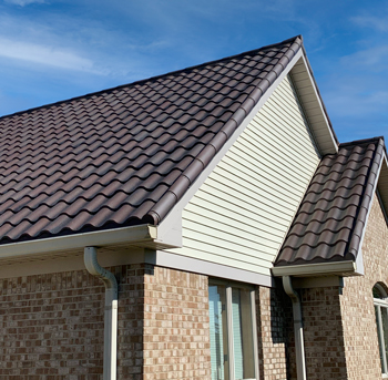 red metal tile roof on house