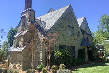 Slate roof on house