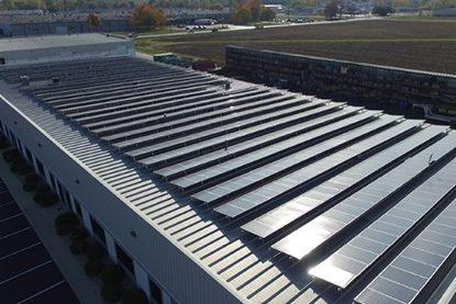 solar panels on Cornett Roofing builidng