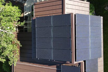 solar roofing panels on home