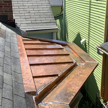 copper roof on house