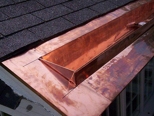 copper gutter on roof