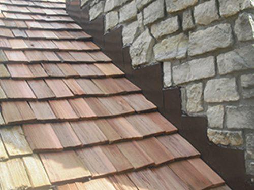 steel flashing on wood shake roof