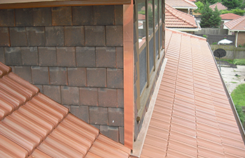 close up of French tile roof