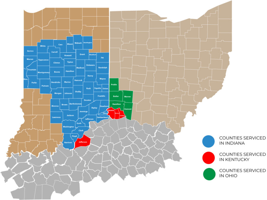 service map of Midwest